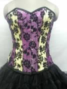 Gorgeous Satin With Tissue Flocking Overbust Corset Dress