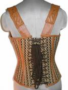Cotton Jute &Leather Shoulder Strap Gothic Steampunk Waist Training Bustier Overbust Corset Top
