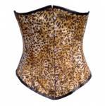 Leopard Print Polyester Burlesque Waist Training Basque LONG Underbust Corset Costume