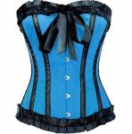 Smashing Blue Satin Overbust Corset Top