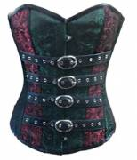 Beauteous Red Green Brocade With Leather Belts Overbust Corset Top