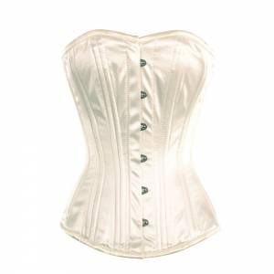 Adorable White Satin Overbust Corset