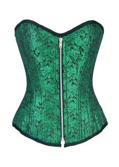 Eye Catching Green Brocade Corset Top