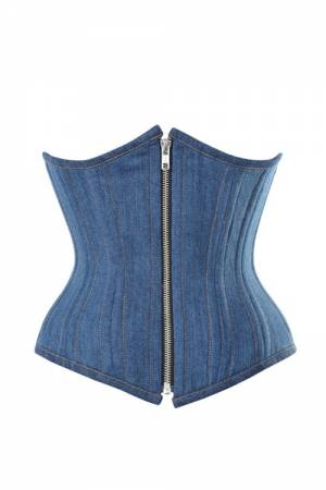 Blue Denim Zipper Front Double Bone Underbust Corset Top