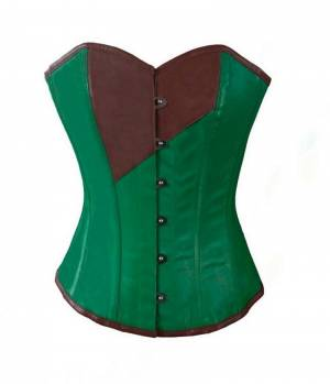 Green and Brown Faux Leather Gothic Steampunk Waist Cincher Bustier Overbust Corset Top