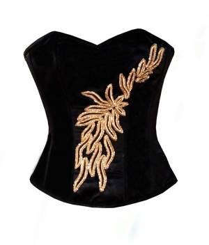 Black Satin Handmade Golden Sequin Gothic Overbust Corset Top