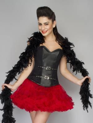 Sexy Black Leather Overbust Top & Tissue Tutu Skirt Halloween Corset Dress
