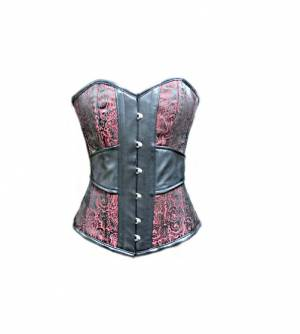 Red Brocade Jacquard Leather Gothic Steampunk Bustier Victorian Costume Waist Training Burlesque Overbust Corset Top