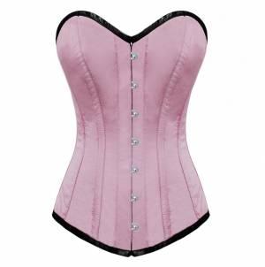 Pink Blush Satin Gothic Burlesque Bustier Waist Training Costume Long Overbust Corset Top