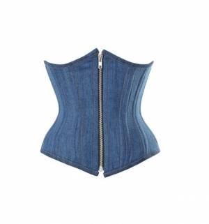Blue Denim Zipper Double Bone Gothic Steampunk Bustier Waist Training Overbust Corset Costume